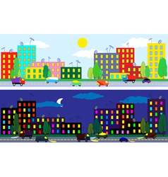city night and day vector image