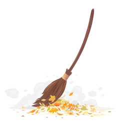 Cleaning fallen leaves with broom vector