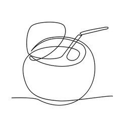coconut fruit in one solid line vector image