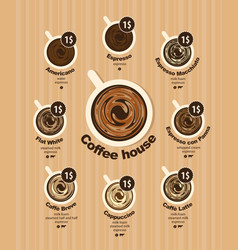 coffee menu card for different types coffee vector image