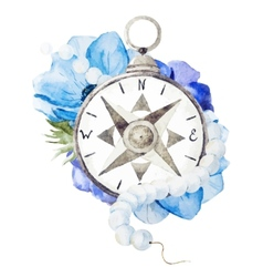 Compass with flowers vector