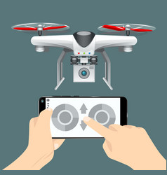 control of the drone on the cellphone vector image