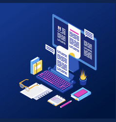Copywriting content creation isometric book vector