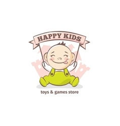 Cute baby logo in sketch style toys vector
