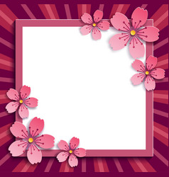 Decorative frame with pink 3d sakura blossom vector