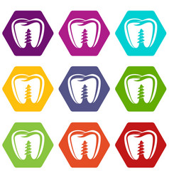Denture implant icons set 9 vector
