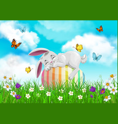 Easter bunny sleeping on egg religion holiday vector