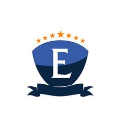 Emblem star ribbon shield initial e vector