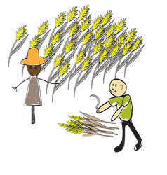farmer with a pitchfork and a haystack vector image