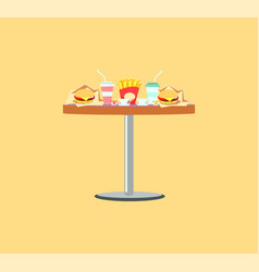 fast food table burger and soda meals vector image