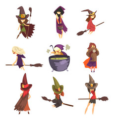 flat set of young witches in different vector image
