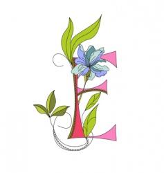 floral font 2 letter e vector image