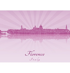 Florence skyline in purple radiant orchid vector