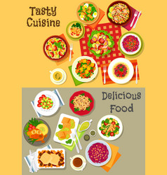 Fresh salad with vegetable fish and meat icon set vector