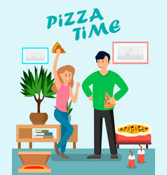friends enjoying pizza flat vector image