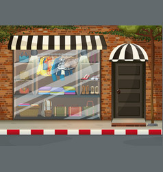 Front clothing store showcase with clothes and vector