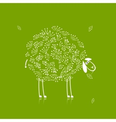 Funny white sheep sketch for your design vector