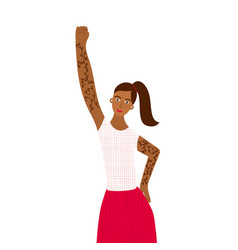 Girl woman fist rise up character vector