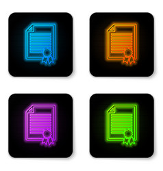 glowing neon certificate template icon isolated vector image