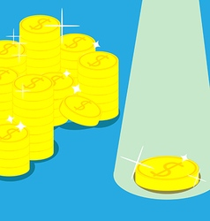 Golden coins in Blue background vector