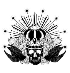 hand drawn swift with human skull vector image