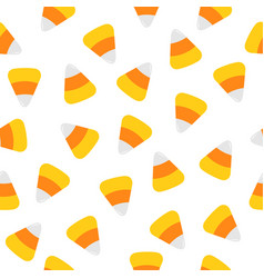 happy halloween candy corn seamless pattern vector image