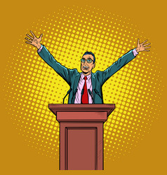 Happy politician man on podium vector