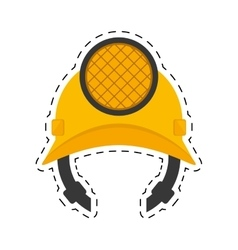 helmet mining light protection cut line vector image