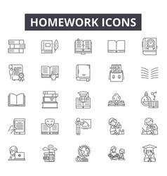 homework line icons signs set outline vector image