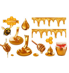 Honey bee honeycomb drop seamless pattern set 3d vector