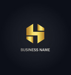 initial h gold logo vector image