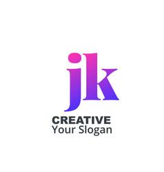 Initial letter jk lowercase design logo template vector