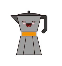 Kawaii italian coffee maker icon vector