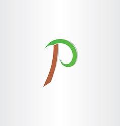 Letter p vecror icon brown green symbol vector