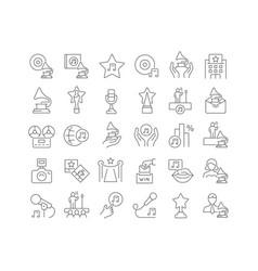 Line icons music award vector