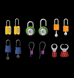 locks and technical clamps vector image