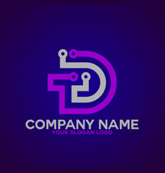 logo letter d and t 1 vector image