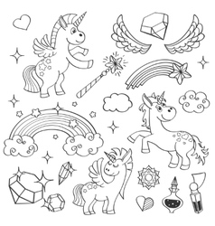 Magic unicorn rainbow fairy wings stars and vector