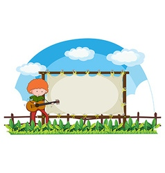 Man playing guitar in the park vector
