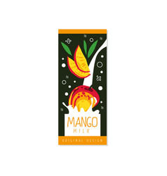 mango milk logo original design label for natural vector image