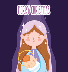 Mary with bajesus manger nativity merry vector