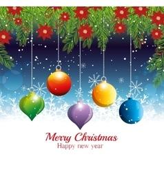 merry christmas happy new year hanging balls vector image