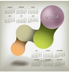 Modern 2014 Calendar upscale colors vector