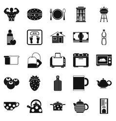 Morning tea icons set simple style vector