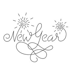 new year lettering greeting card design with vector image
