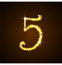 Number five gold glittering stars vector