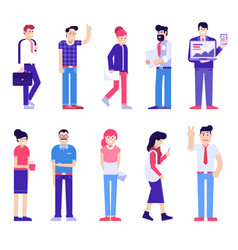 office people set modern society vector image