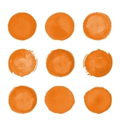 Orange watercolor round stains vector