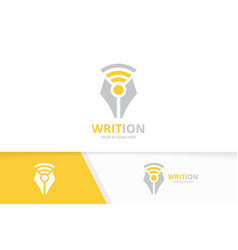 Pen and wifi logo combination write vector