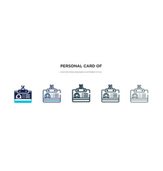 Personal card contact data icon in different vector